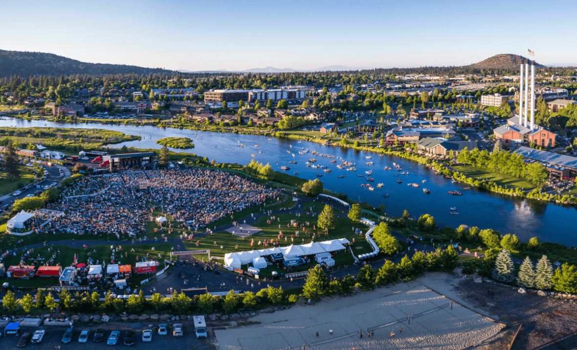 Old Mill district and Les Schwab Ampitheater in Bend, Oregon