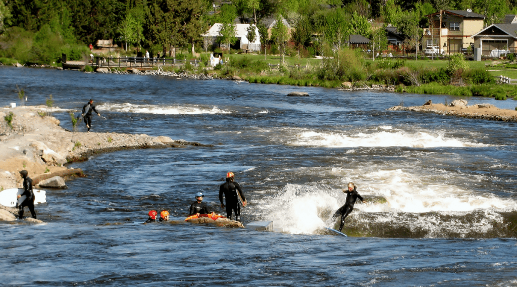 surfing rapids at whitewater park in Bend Oregon