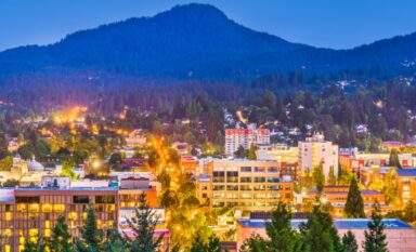 Eugene skyline view of downtown neighborhood