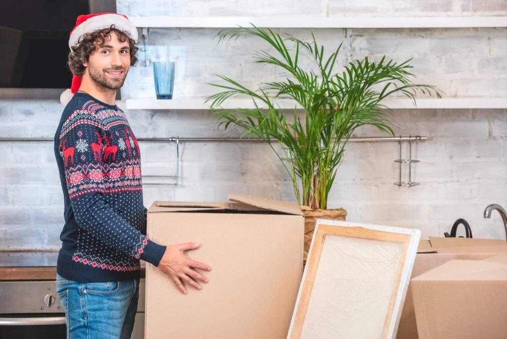 Unpacking moving boxes holiday season