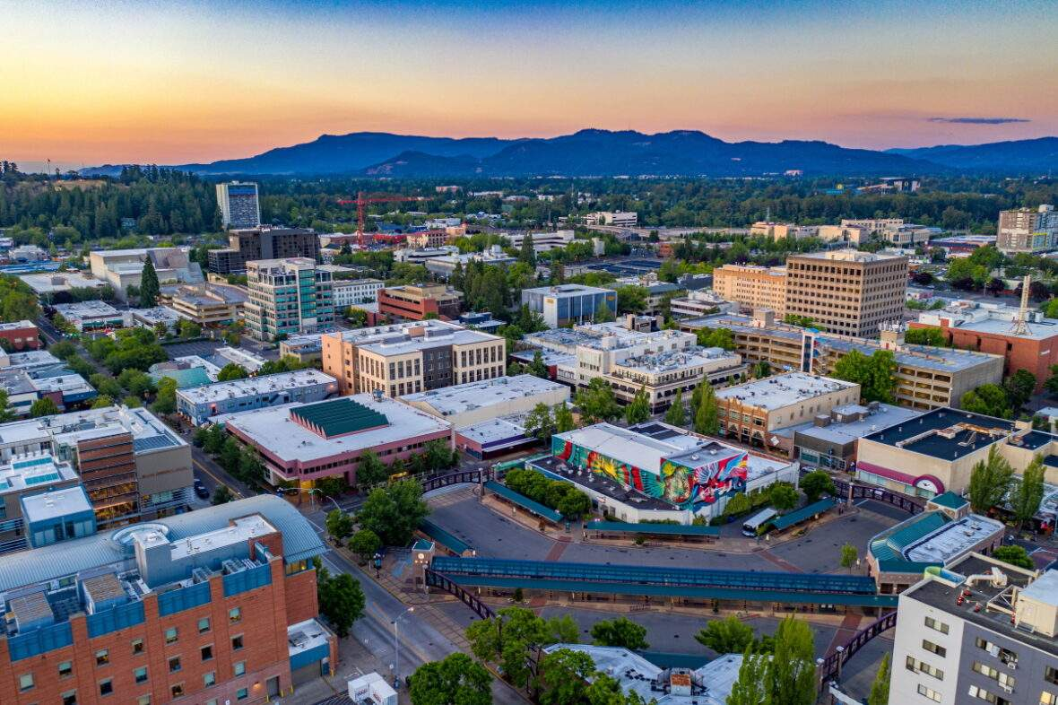 Aerial view of downtown Eugene, Oregon including Eugene Public Library