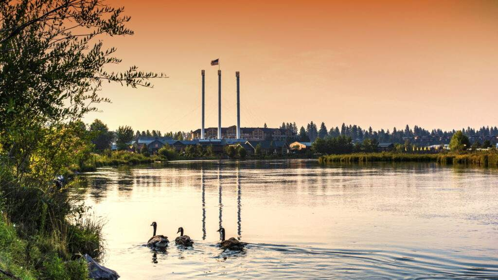 View of Bend's Old Mill District from the Deschutes River