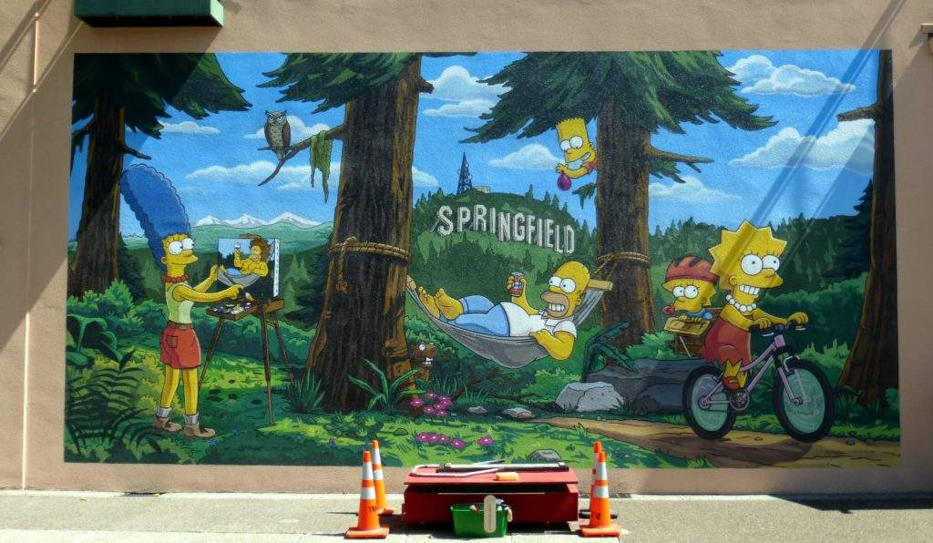 Simpsons TV show mural in downtown Springfield, Oregon