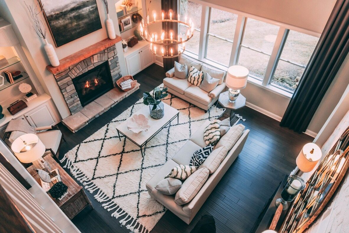 Ceiling view of contemporary great room Bend Oregon