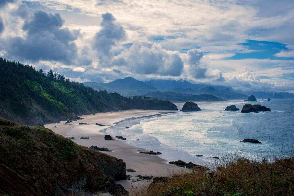 Beach, ocean waves and rocks on the Oregon Coast