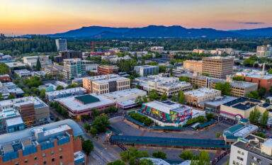 Aerial view of downtown Eugene, Oregon and Eugene Public Library