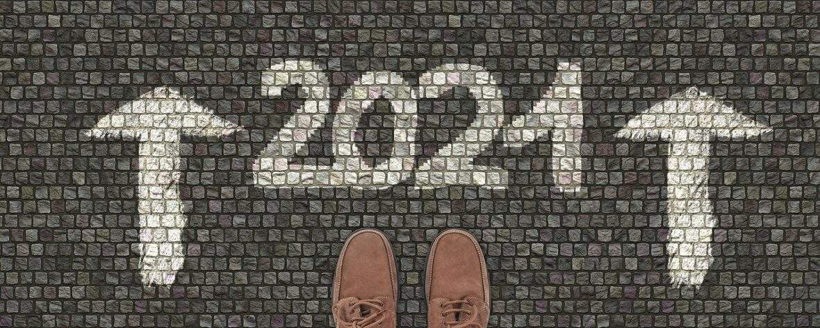 2021 real estate forecast graphic with shoes and cobblestones