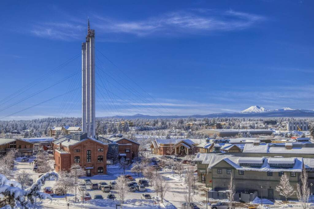 Old Mill district in Bend, Oregon with winter snow