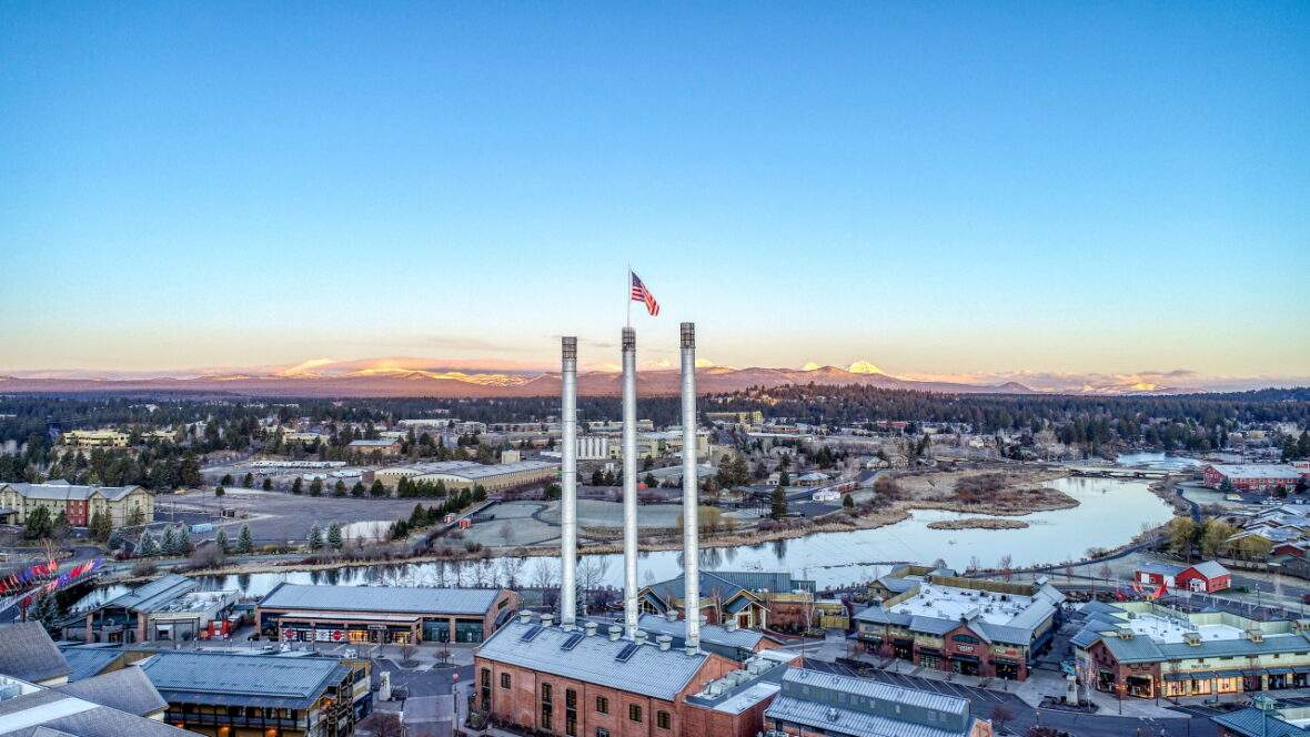 Old Mill District Bend, Oregon with Cascades mountains view in winter