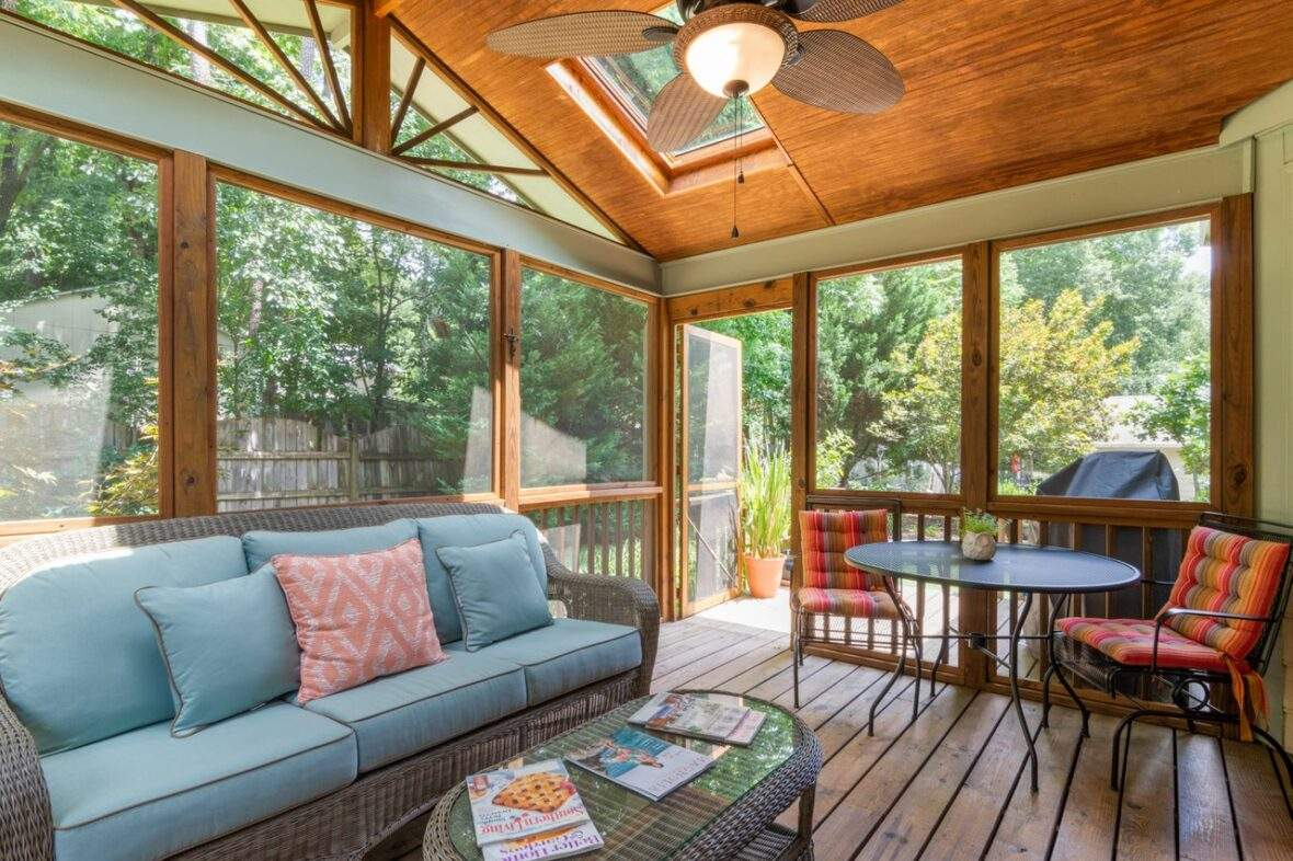 Sunroom at house in Eugene Oregon in spring