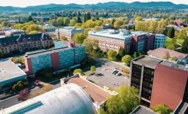 University of Oregon aerial view spring